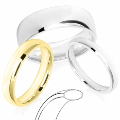 Court Shaped Profile Wedding Rings