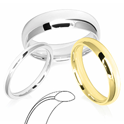 D-Shaped Profile Wedding Rings