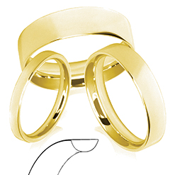 18ct Yellow Gold Flat Court Shape