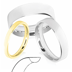 Flat Court Profile Wedding Rings